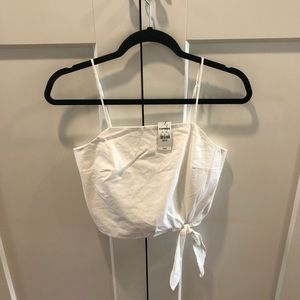 White Express NWT crop top with tie bottom